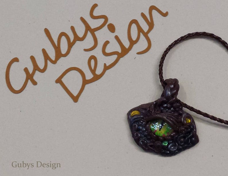Fimo chain pendant with leather strap in brown  dragon eye  image 0