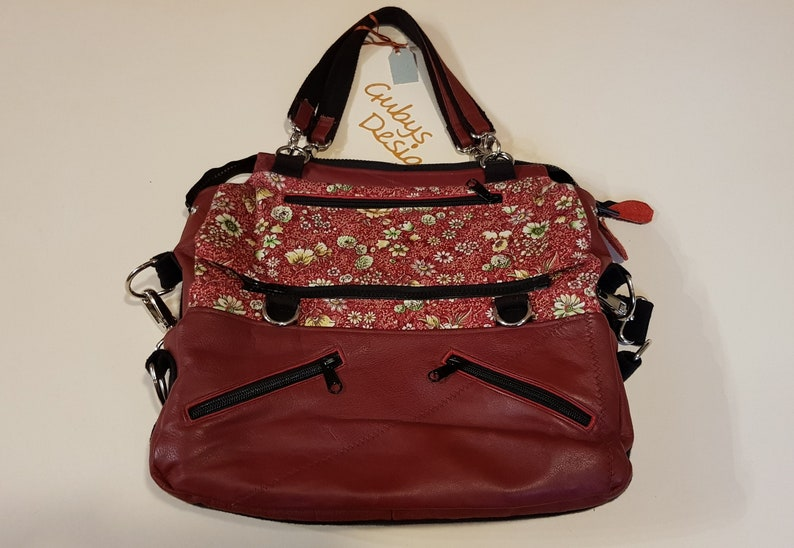 Shoulder bag in red cotton and leather  3 in 1 image 1