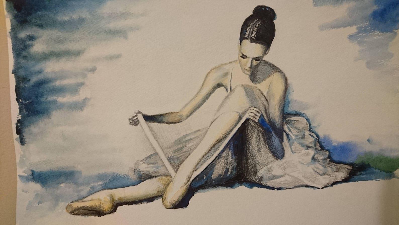 ballet dancer + perfect shoes +show light, a3, watercolour, contemporary, fine art littlecl@mail.ru