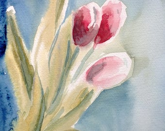 Vibrant tulips in the light, A4, watercolour, Contemporary art littlecl@mail.ru