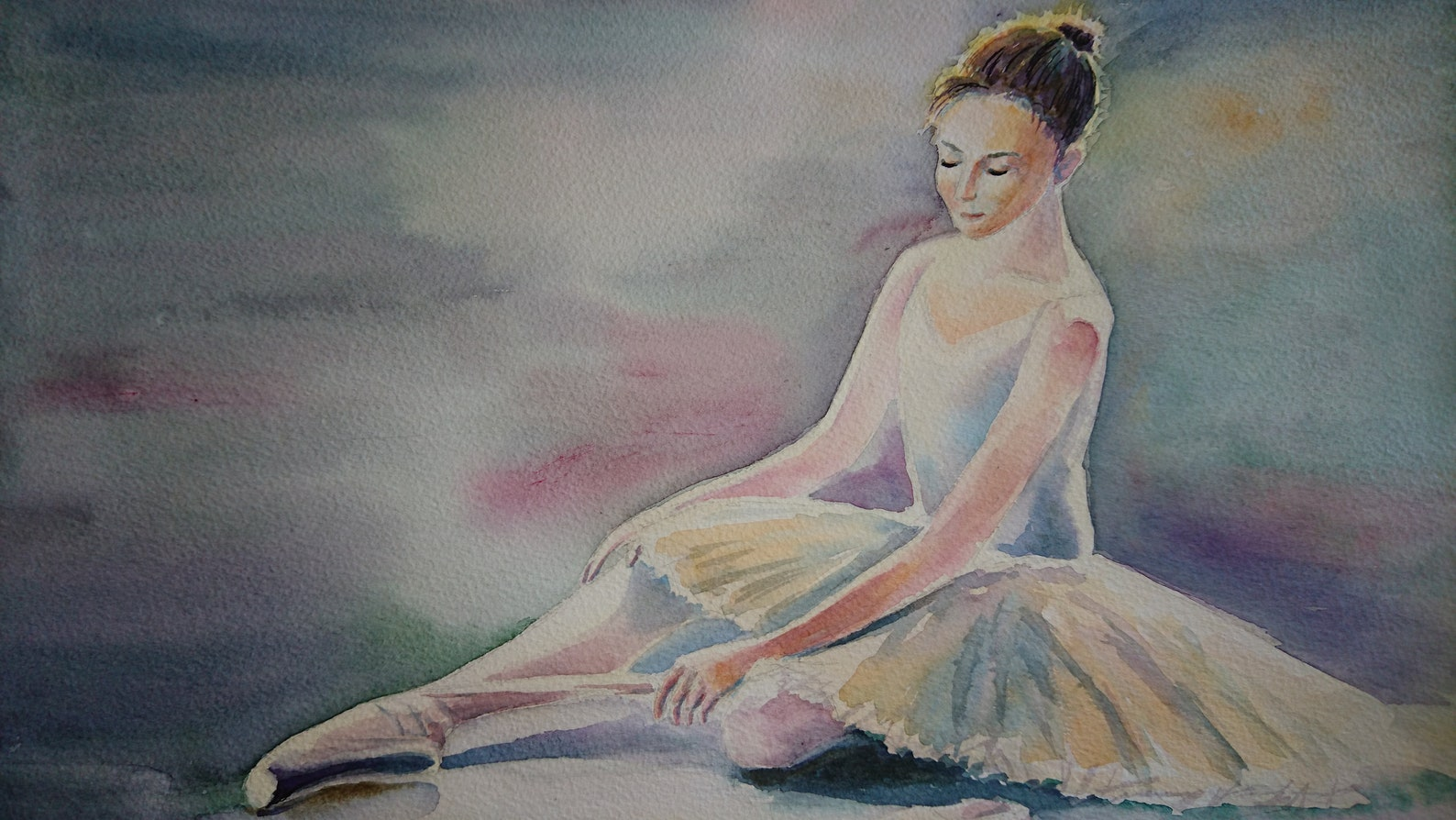 ballet dancer ballerina with pointe shoes winsor & newton artist watercolour paper a3