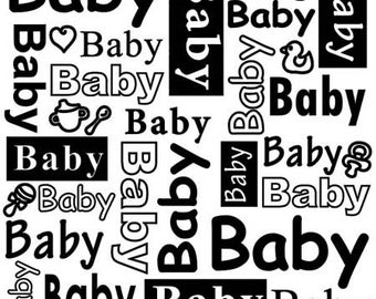 """Workbook embossing text """"BABY"""" 15 x 15 cm_DCTXT004"""