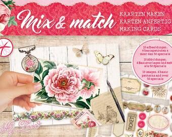Mini block 5 pre-cut cards A5 - 180 g - pink flowers
