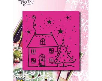 Nellie House and Christmas tree pattern 9 x 10 cm_LD012
