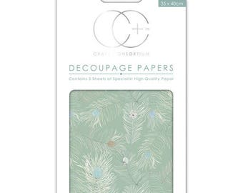Paper patch (3 sheets) Green feathers - CCDECP048