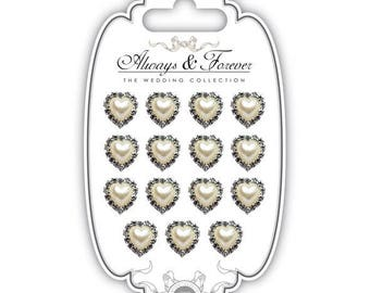 15 (15mm) Pearl and rhinestone hearts - AFCHRM001