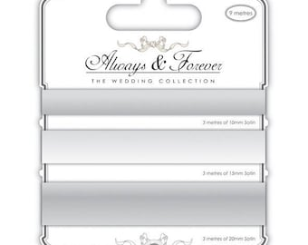 (3x3m) - silver 10,15,20mm-AFSRBN004 satin ribbons