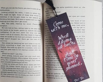 Come with me, where dreams are born, And time is never planned. Peter Pan bookmark quote. Laminated bookmark.