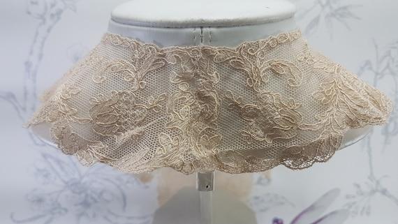 Antique lace collar, dark cream lace collar, earl… - image 5