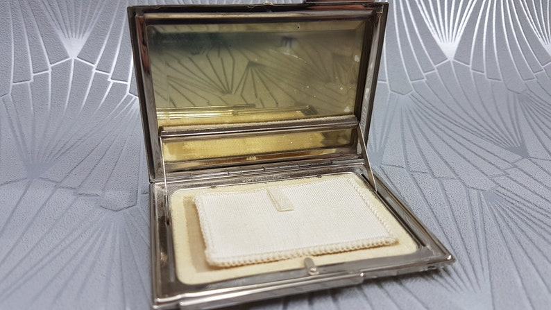 Art Deco powder compact Rowenta compact mirror vintage gifts for her collectible Art Deco compact