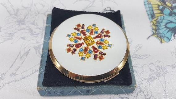 unique vintage gifts for her rare 1960s Kigu collectible compact mirror Vintage Kigu guilloche enamel powder compact