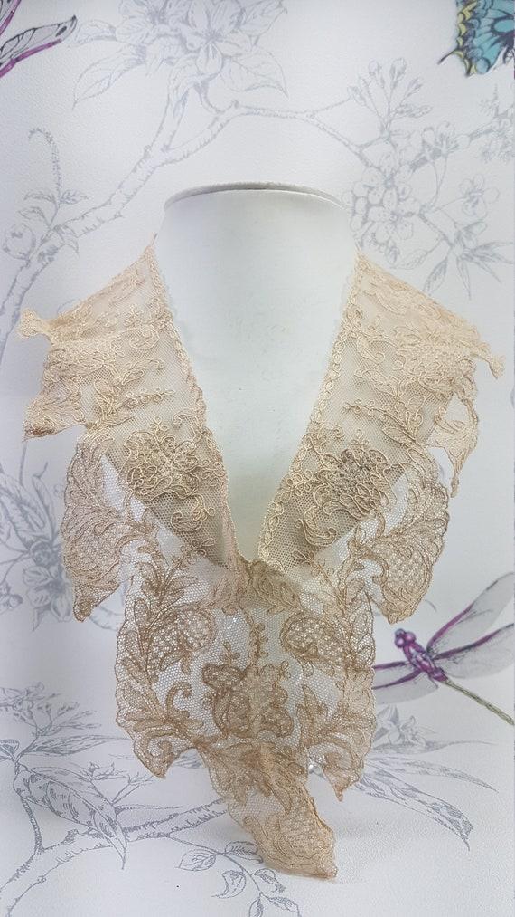 Antique lace collar, dark cream lace collar, earl… - image 10