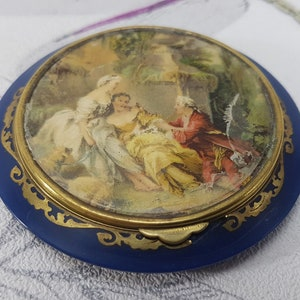 Vintage Compact Miref France Flowers Under Glass Holiday Christmas Gift