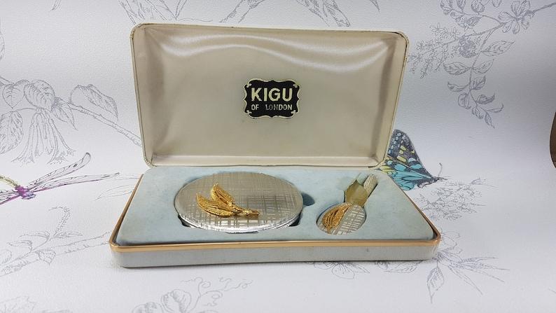 raised leaf motif unique vintage gifts for her rare Kigu compact set Vintage Kigu compact set Kigu lip mirror 1970s Kigu powder compact