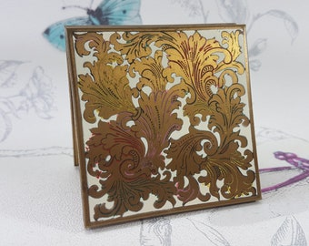 Vintage Volupte powder compact, brass and enamel compact mirror, vintage Volupte compact mirror