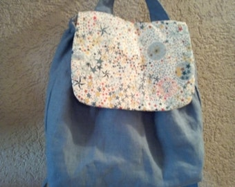 Backpack child linen and liberty with adjustable straps