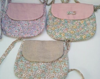 Shoulder bag adjustable linen and floral print