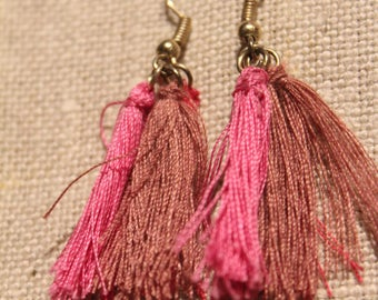 Pink cotton yarn earrings