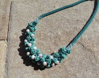 Kumihimo Necklace of Turquoise and White