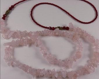 Rose Quartz chips opera length necklace - beaded - no clasp