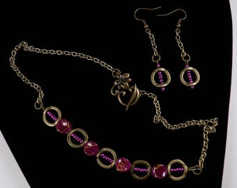 Dahlia hand crafted necklace and dangle earrings set - Magenta seed beads, purple and gold splash square beads, antique copper frames