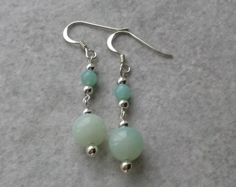 Amazonite and sterling silver earrings : drop earrings, gemstone earrings, silver earrings, aqua earrings, bridesmaid gift, birthday gift