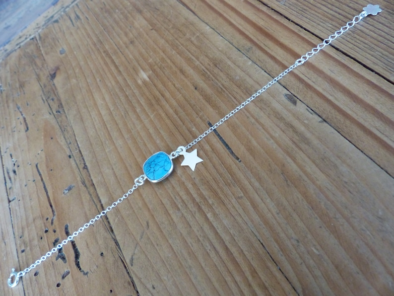 925 solitaire gemstone Bracelet Silver Chain Bracelet turquoise insert turquoise silver Sterling Turquoise Silver Star bracelet