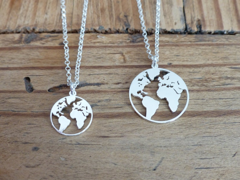 Silver chain necklace Earth Globe Worldmas globe Fine silver world map necklace 925 Planet Earth Collier globe