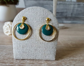 Minimalist earrings, gold and emerald green-plated creoles