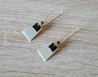 Long earrings sleepers silver sequin square enamel Black Silver trapeze Bohemian chic boho trend