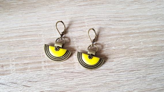 Midnight blue mustard yellow enamel charms Silver ethnic earrings