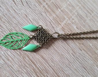 This boho necklace large square light green leaf arabesque bronze glazed light green diamonds