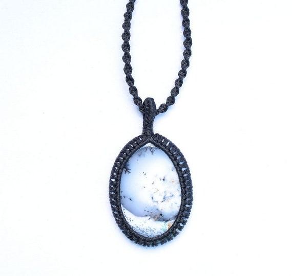 Dendrite opal Macrame Pendant,Oval Shape Pendant,White colour,Size-10-31mm,Weight-33.65ct.,Boho,Hippie,Necklace,Dendrite Handmade Jewelry