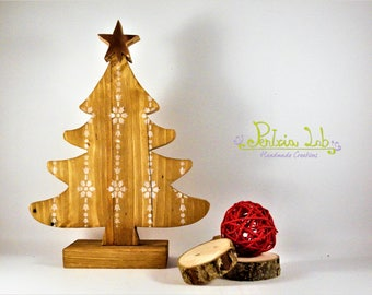 Reclaimed wood with copper star tree, height 25 cm-Christmas-tree-Christmas tree