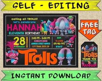 EDITABLE Trolls Birthday Invitation Party Printable Template