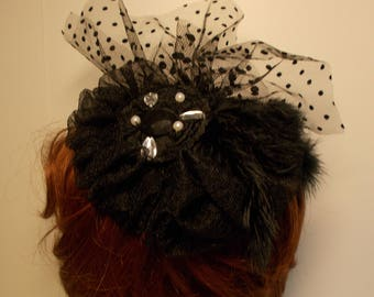 Fascinator style Victorian wedding evening ceremony