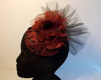 Fascinator red tulle lace wedding ceremony