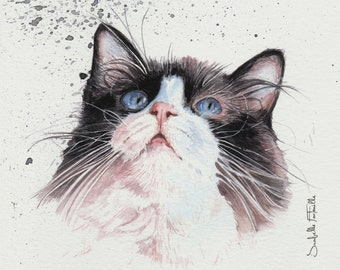 Painting Watercolor White and Black Cat 16 x 16 cm