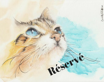 Cat yellow 18 X 24 cm watercolor painting