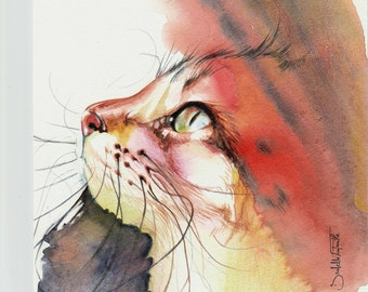 Watercolor Painting Red Cat 16 X 16 cm