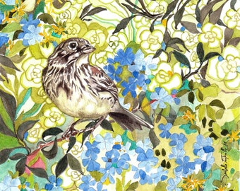 Painting Watercolor Bird Sparrow 14 X 14 cm