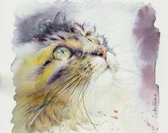 Painting Watercolor Cat Tigray 20 x 20 cm