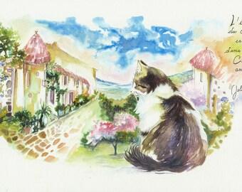 Painting Watercolor Cat: calm 18 X 28.5 cm
