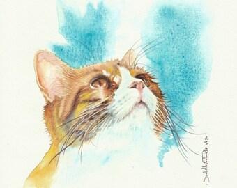 Painting Watercolor Cat Roux 20 x 20 cm