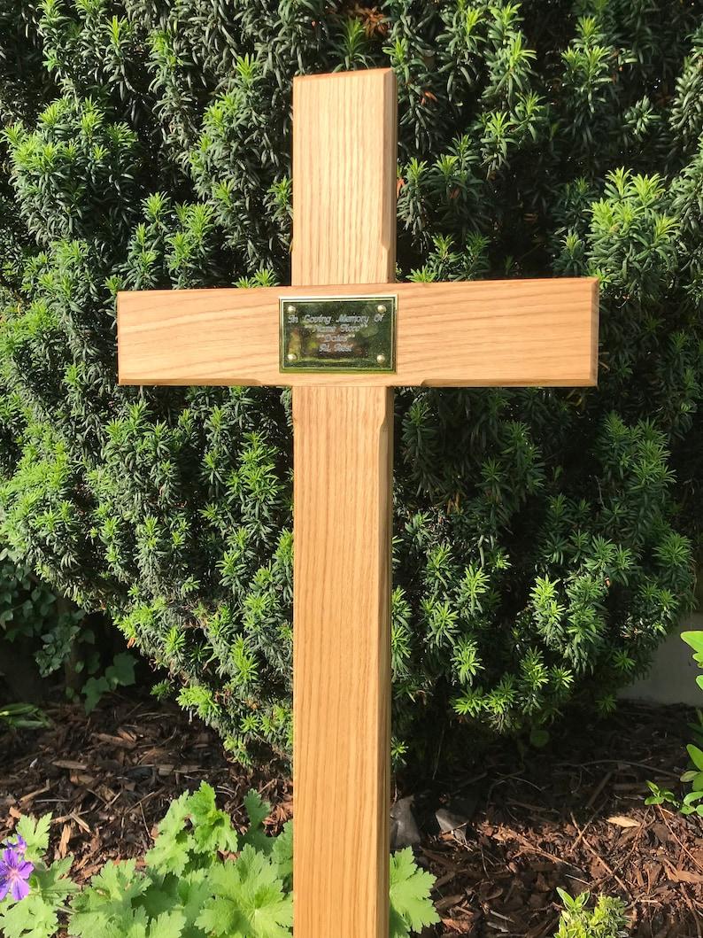 44 Wooden Memorial Cross Solid Oak Grave Marker Personalised Plaque