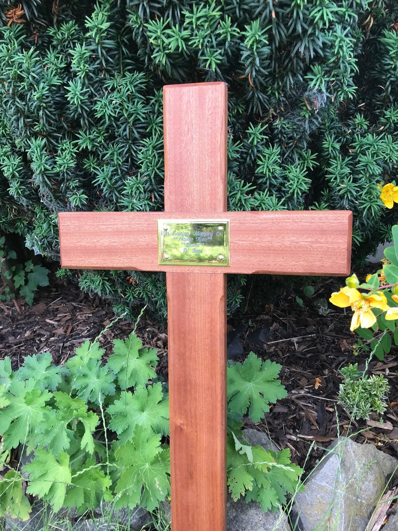 44 Wooden Memorial Cross Solid Mahogany Grave Marker Personalised Plaque