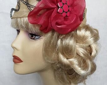 TURBAN headband SISAL ECRU decoration Fuchsia and black