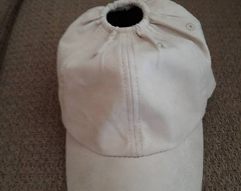 Suede Khaki baseball hat with an elastic hole on top for your ponytail 43ff2f71e73
