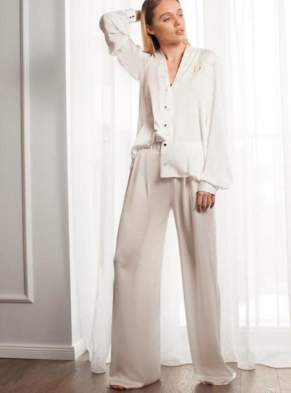 Pajama Set White Silk Satin Pajama Bride Pajama SetWoman  c390b6239