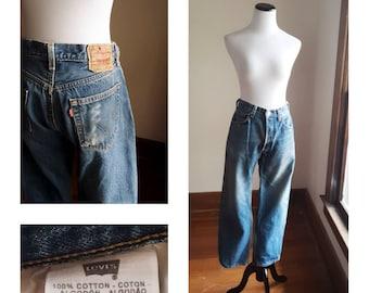 88dda3e331d 33 x 32 Levis 501 boyfriend jeans faded 90s men's unisex button-fly button  fly made in haiti distressed retro vintage 80s blue denim